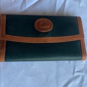 Dooney & Bourke wallet green leather and tan color